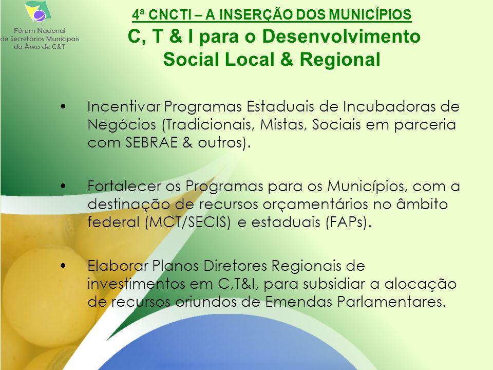 Incentivar Programas Estaduais de Incubadoras de Negócios (Tradicionais, Mistas, Sociais em parceria com SEBRAE & outros).