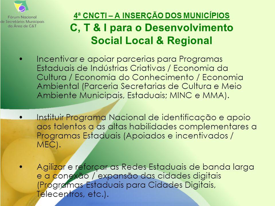Incentivar e apoiar parcerias para Programas Estaduais de Indústrias Criativas / Economia da Cultura / Economia do Conhecimento / Economia Ambiental (Parceria Secretarias de Cultura e Meio Ambiente Municipais, Estaduais; MINC e MMA).
