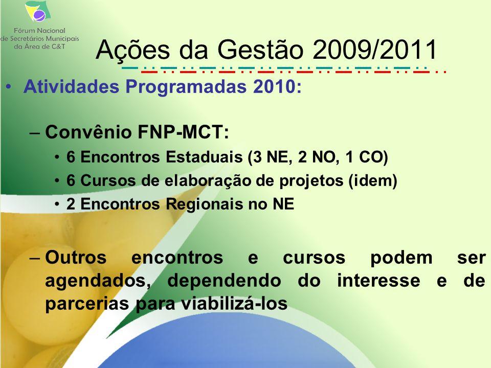 Atividades Programadas 2010: –Convênio FNP-MCT: 6 Encontros Estaduais (3 NE, 2 NO, 1 CO) 6 Cursos de elaboração de projetos (idem) 2 Encontros Regionais no NE –Outros encontros e cursos podem ser agendados, dependendo do interesse e de parcerias para viabilizá-los Ações da Gestão 2009/2011