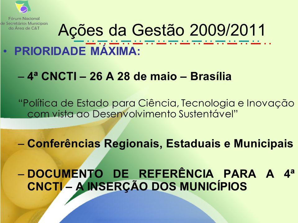 PRIORIDADE MÁXIMA: –4ª CNCTI – 26 A 28 de maio – Brasília Política de Estado para Ciência, Tecnologia e Inovação com vista ao Desenvolvimento Sustentável –Conferências Regionais, Estaduais e Municipais –DOCUMENTO DE REFERÊNCIA PARA A 4ª CNCTI – A INSERÇÃO DOS MUNICÍPIOS Ações da Gestão 2009/2011