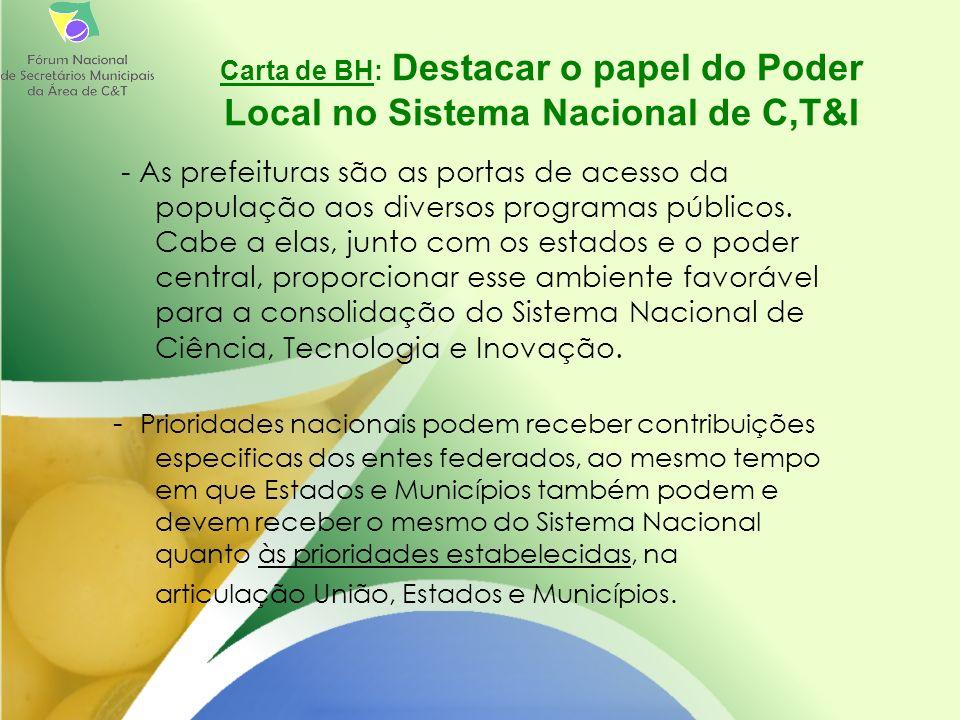 Carta de BH: Destacar o papel do Poder Local no Sistema Nacional de C,T&I - As prefeituras são as portas de acesso da população aos diversos programas públicos.