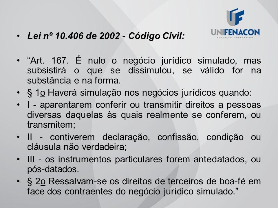 Lei nº 10.406 de 2002 - Código Civil: Art. 167. É nulo o negócio jurídico simulado, mas subsistirá o que se dissimulou, se válido for na substância e