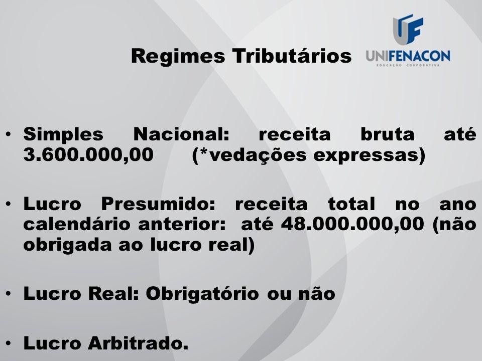 Regimes Tributários Simples Nacional: receita bruta até 3.600.000,00 (*vedações expressas) Lucro Presumido: receita total no ano calendário anterior: