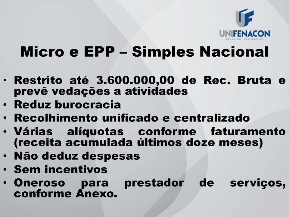Micro e EPP – Simples Nacional Restrito até 3.600.000,00 de Rec. Bruta e prevê vedações a atividades Reduz burocracia Recolhimento unificado e central