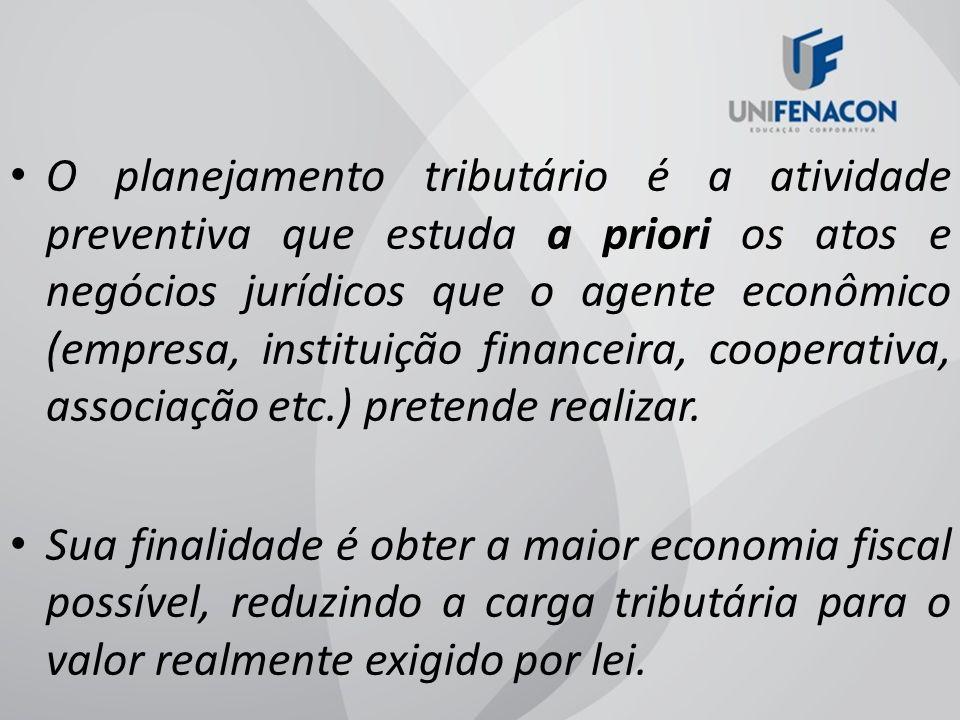 O planejamento tributário é a atividade preventiva que estuda a priori os atos e negócios jurídicos que o agente econômico (empresa, instituição finan