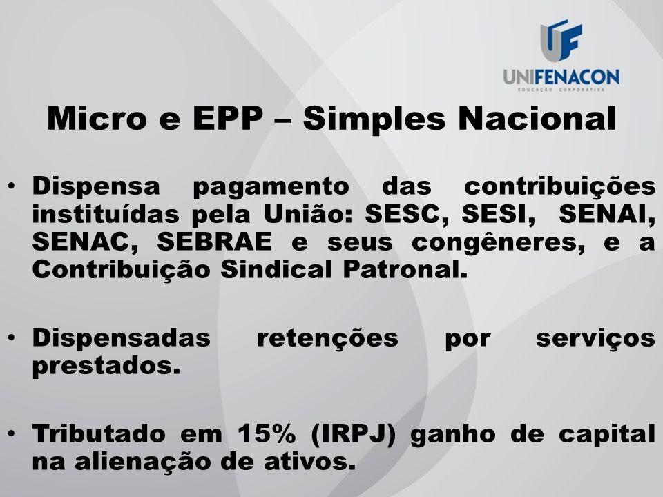 Micro e EPP – Simples Nacional Dispensa pagamento das contribuições instituídas pela União: SESC, SESI, SENAI, SENAC, SEBRAE e seus congêneres, e a Co