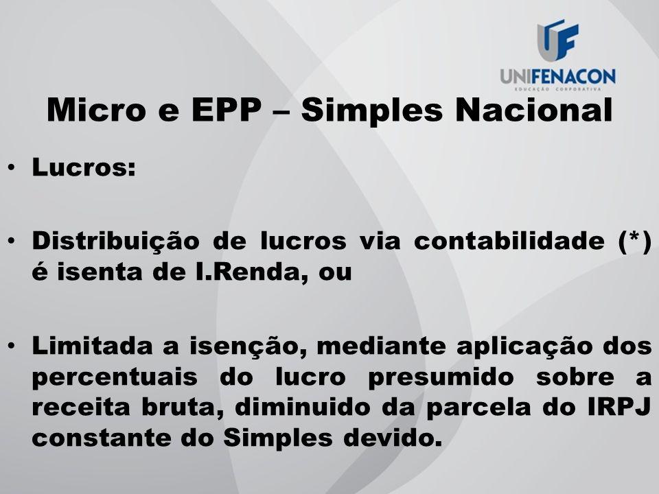 Micro e EPP – Simples Nacional Lucros: Distribuição de lucros via contabilidade (*) é isenta de I.Renda, ou Limitada a isenção, mediante aplicação dos