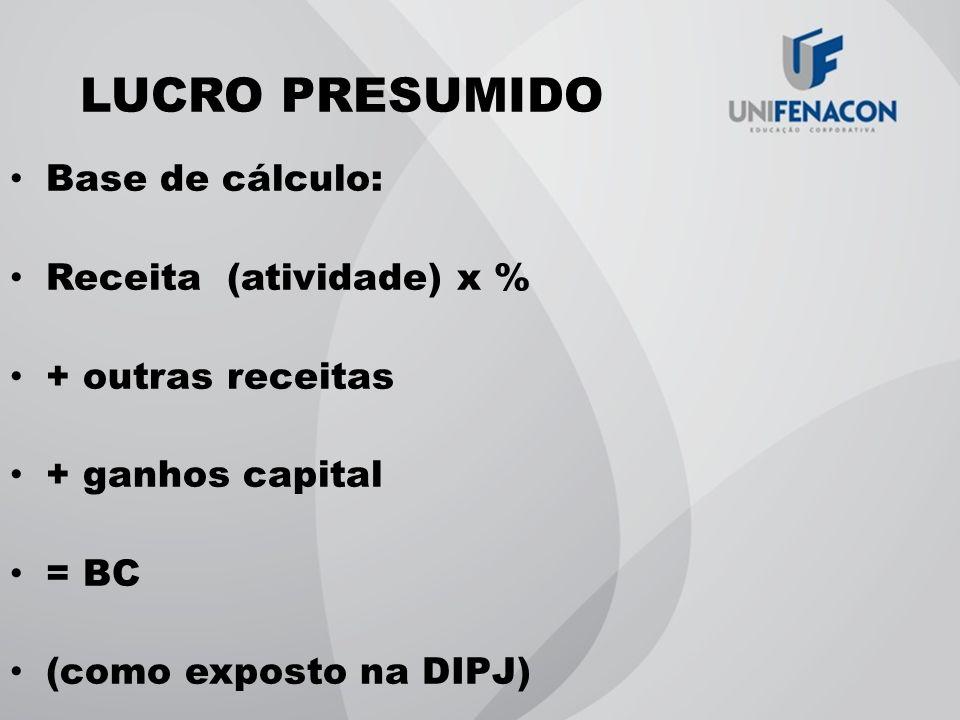 LUCRO PRESUMIDO Base de cálculo: Receita (atividade) x % + outras receitas + ganhos capital = BC (como exposto na DIPJ)