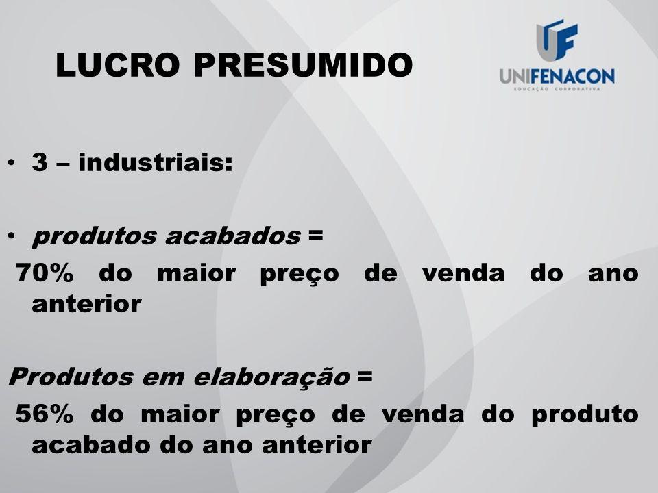 LUCRO PRESUMIDO 3 – industriais: produtos acabados = 70% do maior preço de venda do ano anterior Produtos em elaboração = 56% do maior preço de venda