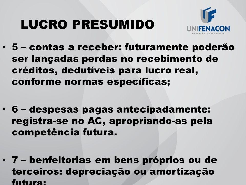 LUCRO PRESUMIDO 5 – contas a receber: futuramente poderão ser lançadas perdas no recebimento de créditos, dedutíveis para lucro real, conforme normas