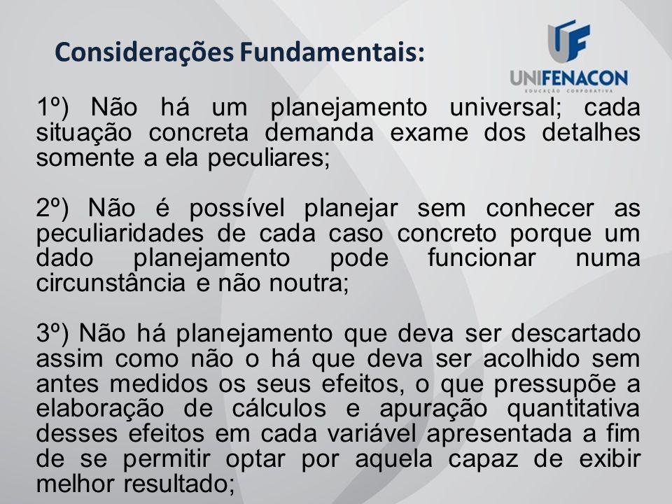 Considerações Fundamentais: 1º) Não há um planejamento universal; cada situação concreta demanda exame dos detalhes somente a ela peculiares; 2º) Não