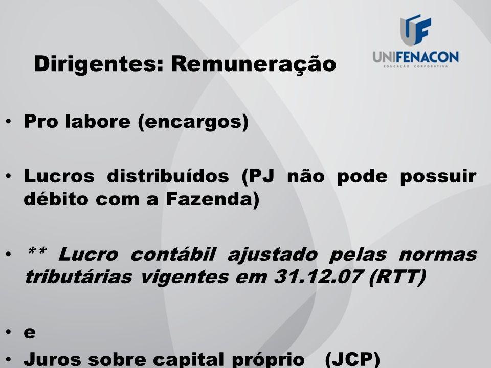 Dirigentes: Remuneração Pro labore (encargos) Lucros distribuídos (PJ não pode possuir débito com a Fazenda) ** Lucro contábil ajustado pelas normas t