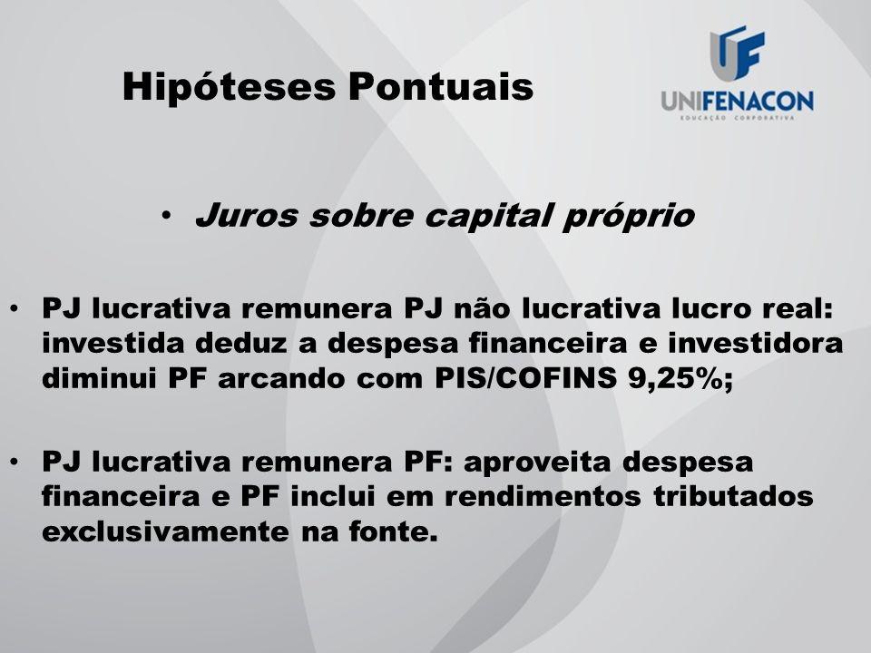 Hipóteses Pontuais Juros sobre capital próprio PJ lucrativa remunera PJ não lucrativa lucro real: investida deduz a despesa financeira e investidora d