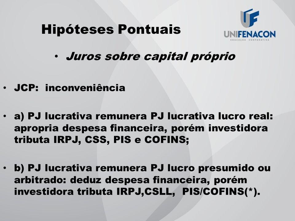 Hipóteses Pontuais Juros sobre capital próprio JCP: inconveniência a) PJ lucrativa remunera PJ lucrativa lucro real: apropria despesa financeira, poré