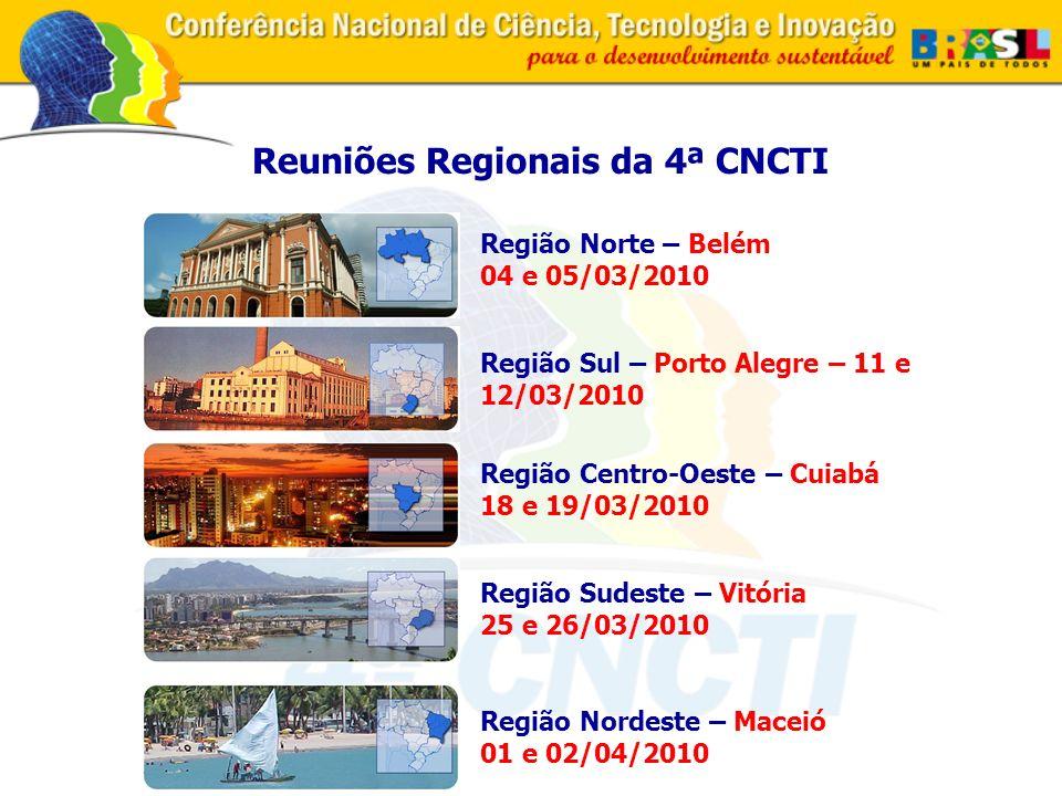 Reuniões Regionais da 4ª CNCTI Região Sul – Porto Alegre – 11 e 12/03/2010 Região Nordeste – Maceió 01 e 02/04/2010 Região Norte – Belém 04 e 05/03/2010 Região Centro-Oeste – Cuiabá 18 e 19/03/2010 Região Sudeste – Vitória 25 e 26/03/2010