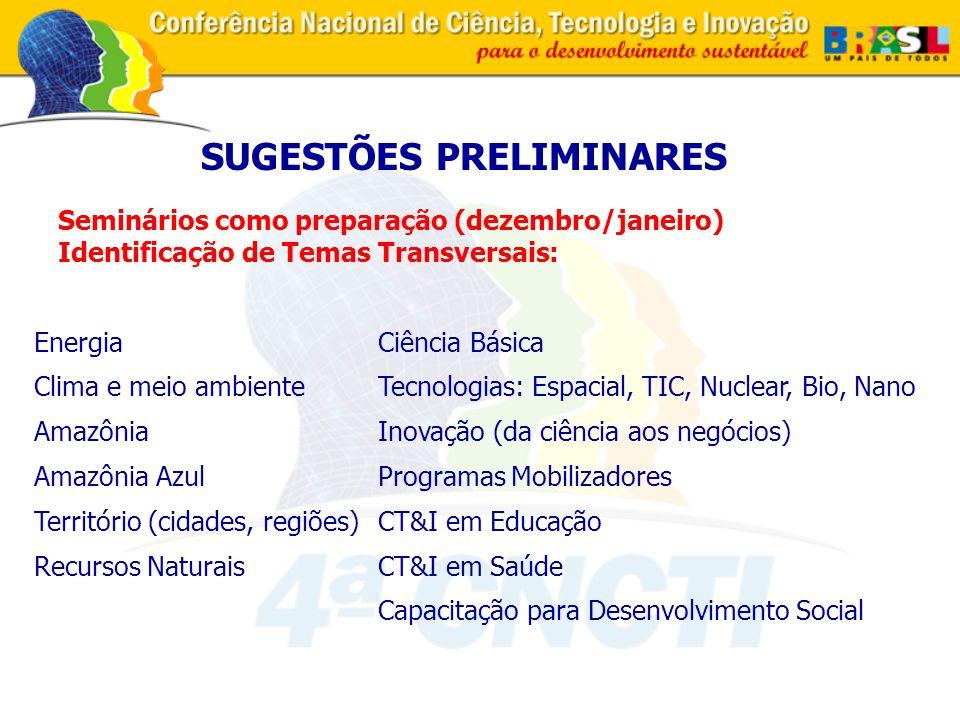 Seminários como preparação (dezembro/janeiro) Identificação de Temas Transversais: SUGESTÕES PRELIMINARES Ciência Básica Tecnologias: Espacial, TIC, Nuclear, Bio, Nano Inovação (da ciência aos negócios) Programas Mobilizadores CT&I em Educação CT&I em Saúde Capacitação para Desenvolvimento Social Energia Clima e meio ambiente Amazônia Amazônia Azul Território (cidades, regiões) Recursos Naturais