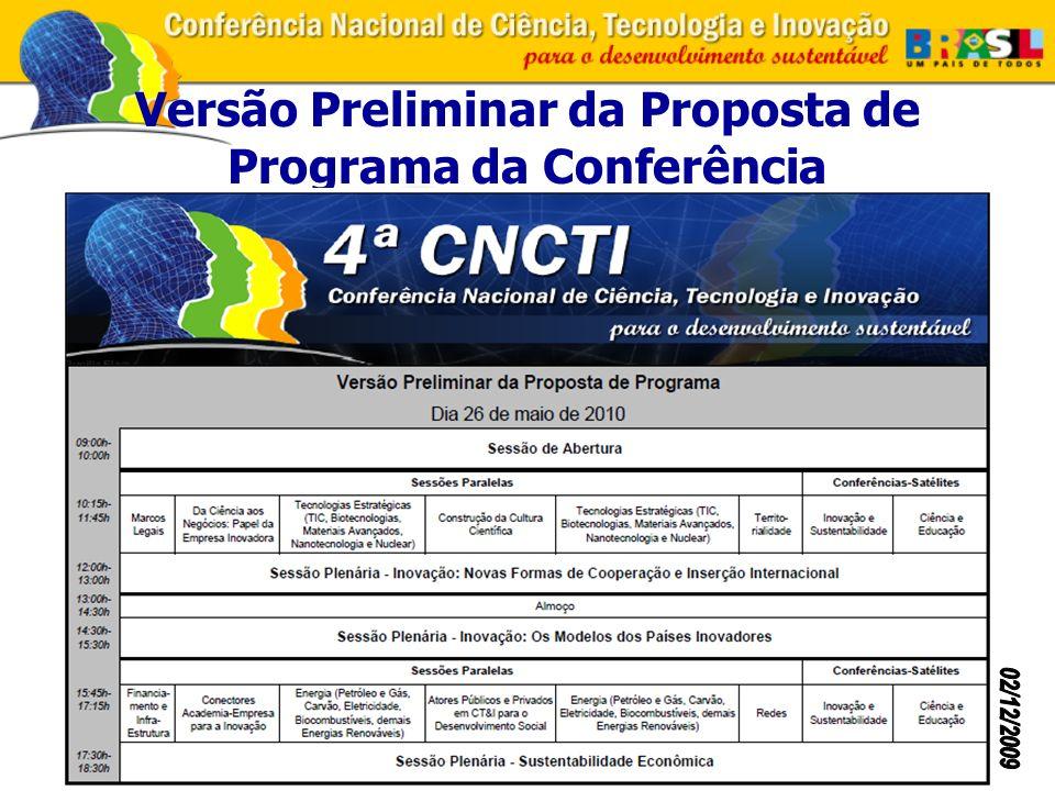 Versão Preliminar da Proposta de Programa da Conferência