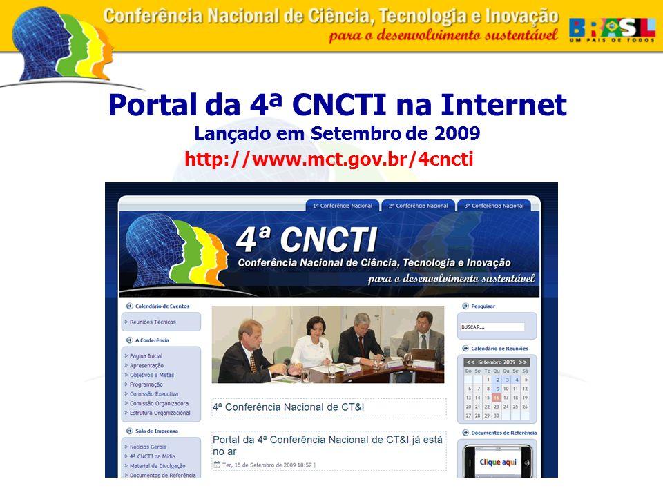 Portal da 4ª CNCTI na Internet Lançado em Setembro de 2009 http://www.mct.gov.br/4cncti