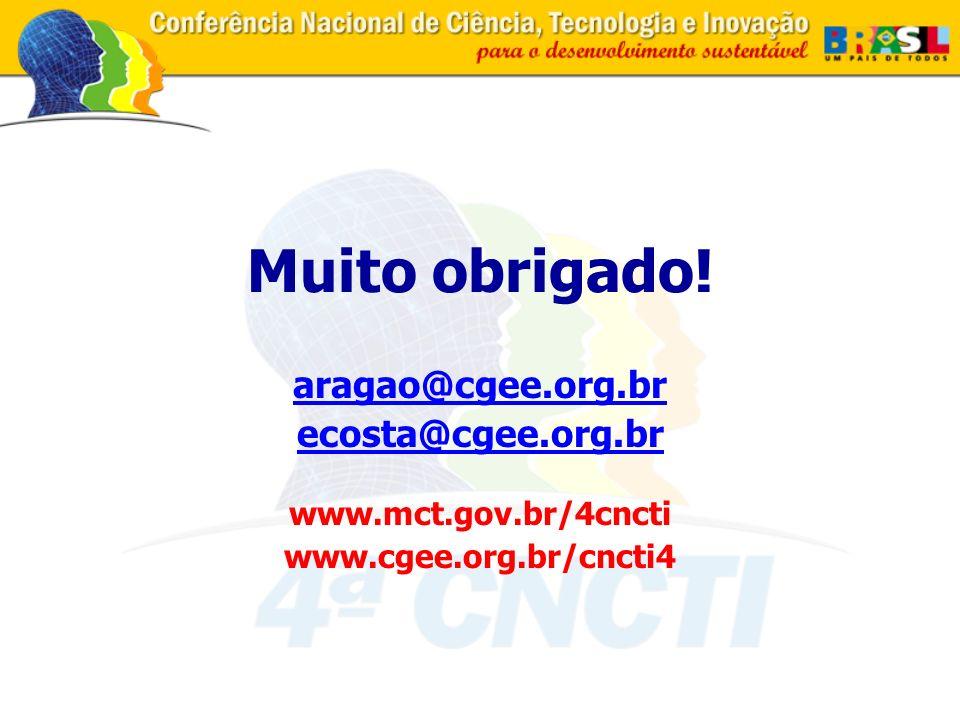Muito obrigado! aragao@cgee.org.br ecosta@cgee.org.br www.mct.gov.br/4cncti www.cgee.org.br/cncti4