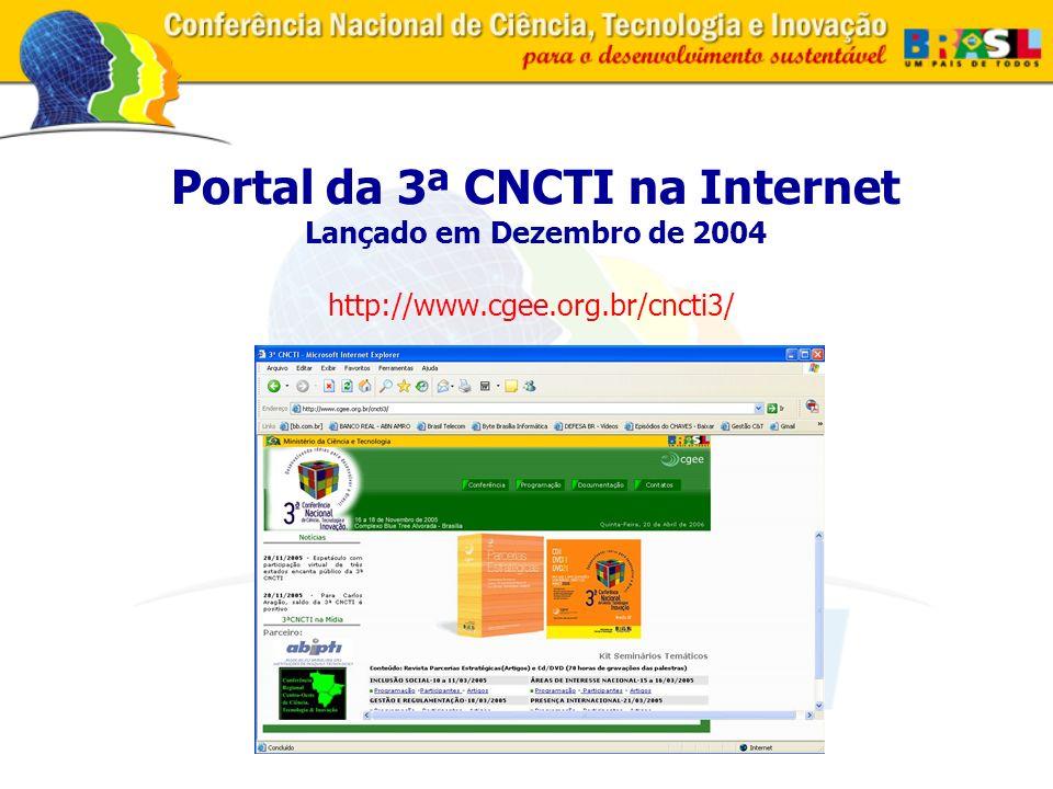 Portal da 3ª CNCTI na Internet Lançado em Dezembro de 2004 http://www.cgee.org.br/cncti3/