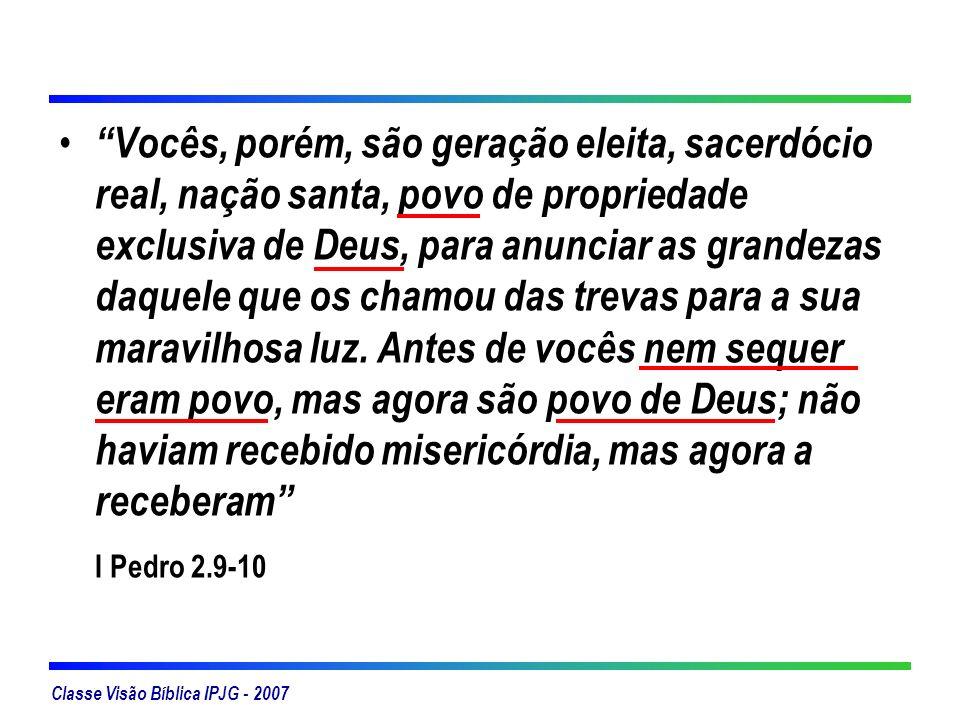 Classe Visão Bíblica IPJG - 2007 Igreja Visível Edifício Organização Estrutura Governo Hierarquia Igreja Invisível Relação pessoal direta A que Deus vê Crentes Reflete a glória de Deus