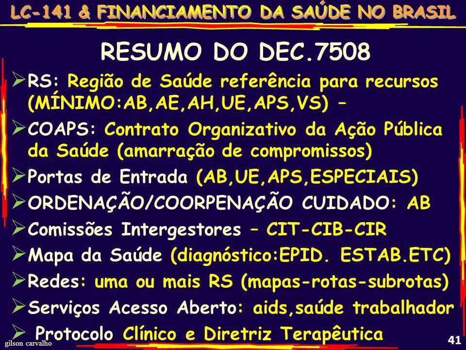 gilson carvalho 40 DECRETO 7508 REGULAMENTA A LEI 8080