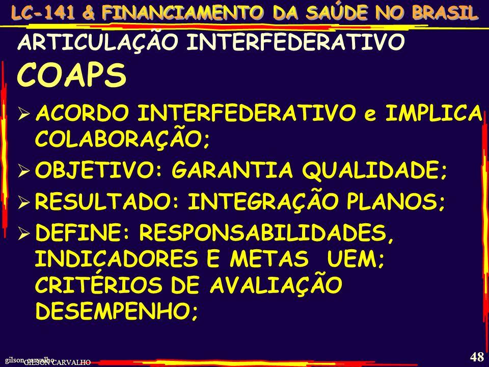 gilson carvalho 47 ARTICULAÇÃO INTERFEDERATIVO CIT – CIB – CIR - PACTUAM : Aspectos operacionais, financeiros e administrativos da gestão Diretrizes s