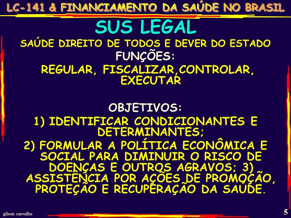 gilson carvalho 15 UM POUQUINHO DE HISTÓRIA DESTE FINANCIAMENTO… ANTES DO MANDADO LEGAL: … ATÉ 1981: PREVIDÊNCIA - $FOLHA (INAMPS-FUNRURAL-LBA) MS – SES – SMS = $ REC.FISCAIS 1981-1990: REPARTIÇÃO DO FEDERAL (INAMPS) PARA ESTADOS E MUNICÍPIOS (AIS-SUDS) VIII CNS - FONTES MÚLTIPLAS, DEFINIDAS, DEFINITIVAS E SUFICIENTES 1988-1990: AGUARDANDO O FUNCIONAMENTO DA CF – PERMANECE O SUDS – 1988 $ - SEGURIDADE: SAÚDE + PREVIDÊNCIA + ASS.SOPCIAL UNIÃO: 30% OSS (CEESF,CSLL,COFINS + C.PROOG.) E REC.FISCAIS DAS 3 ESFERAS (% NÃO DEFINIDO) DEPOIS DO MANDADO LEGAL: 1991-1994: NOBS 91-92 (TETOS PRODUÇÃO) SES E SMS –PRESTADORES DO M.