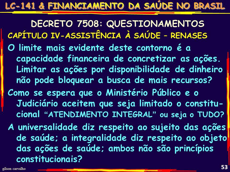 gilson carvalho 52 QUESTIONAMENTOS CAPÍTULO IV-ASSISTÊNCIA À SAÚDE – RENASES RENASES regula a integralidade. Regular o tudo expresso no ART.198, como