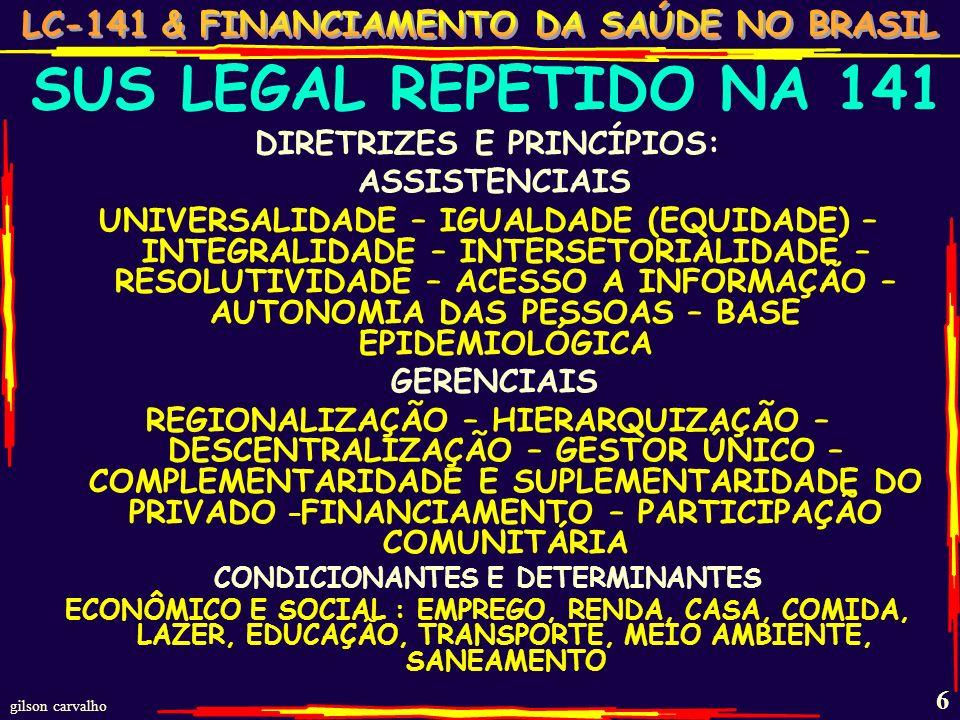 gilson carvalho 6 SUS LEGAL REPETIDO NA 141 DIRETRIZES E PRINCÍPIOS: ASSISTENCIAIS UNIVERSALIDADE – IGUALDADE (EQUIDADE) – INTEGRALIDADE – INTERSETORIALIDADE – RESOLUTIVIDADE – ACESSO A INFORMAÇÃO – AUTONOMIA DAS PESSOAS – BASE EPIDEMIOLÓGICA GERENCIAIS REGIONALIZAÇÃO – HIERARQUIZAÇÃO – DESCENTRALIZAÇÃO – GESTOR ÚNICO – COMPLEMENTARIDADE E SUPLEMENTARIDADE DO PRIVADO – FINANCIAMENTO – PARTICIPAÇÃO COMUNITÁRIA CONDICIONANTES E DETERMINANTES ECONÔMICO E SOCIAL : EMPREGO, RENDA, CASA, COMIDA, LAZER, EDUCAÇÃO, TRANSPORTE, MEIO AMBIENTE, SANEAMENTO