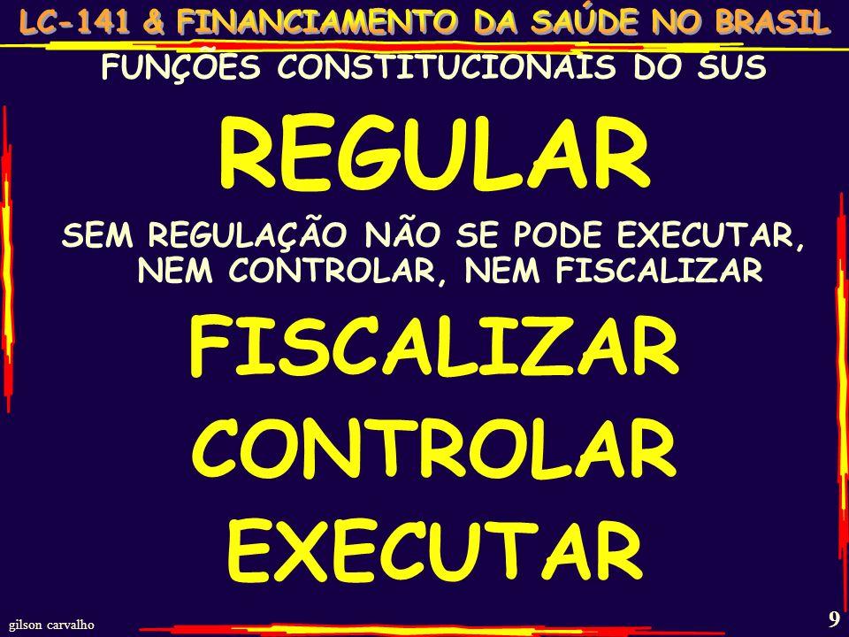 gilson carvalho 9 FUNÇÕES CONSTITUCIONAIS DO SUS REGULAR SEM REGULAÇÃO NÃO SE PODE EXECUTAR, NEM CONTROLAR, NEM FISCALIZAR FISCALIZAR CONTROLAR EXECUTAR