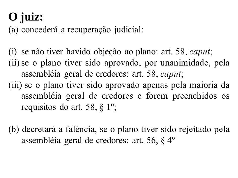O juiz: (a)concederá a recuperação judicial: (i)se não tiver havido objeção ao plano: art. 58, caput; (ii)se o plano tiver sido aprovado, por unanimid