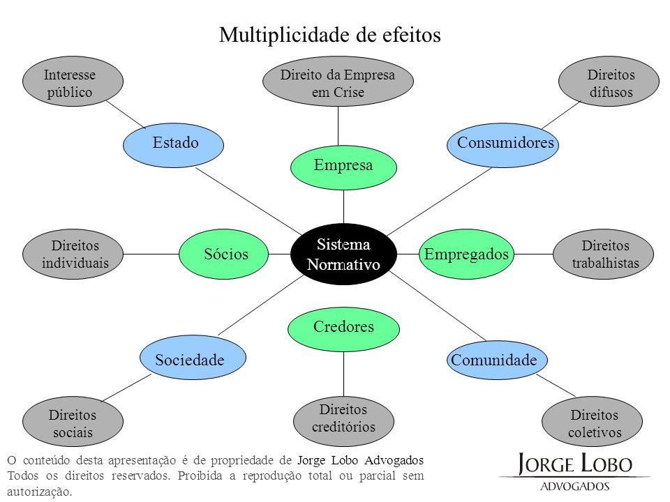 Multiplicidade de efeitos Empresa Sócios Sistema Normativo Empregados Credores Estado SociedadeComunidade Consumidores Interesse público Direitos difu