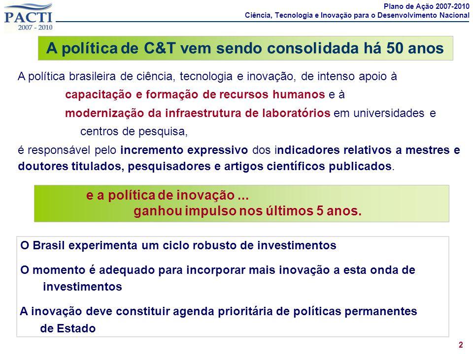 A política brasileira de ciência, tecnologia e inovação, de intenso apoio à capacitação e formação de recursos humanos e à modernização da infraestrut
