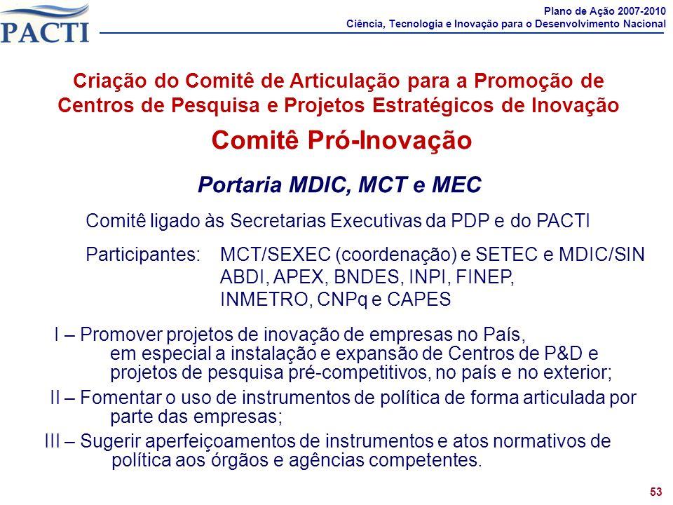 Comprometimentos 1 Criação do Comitê de Articulação para a Promoção de Centros de Pesquisa e Projetos Estratégicos de Inovação Comitê Pró-Inovação Por