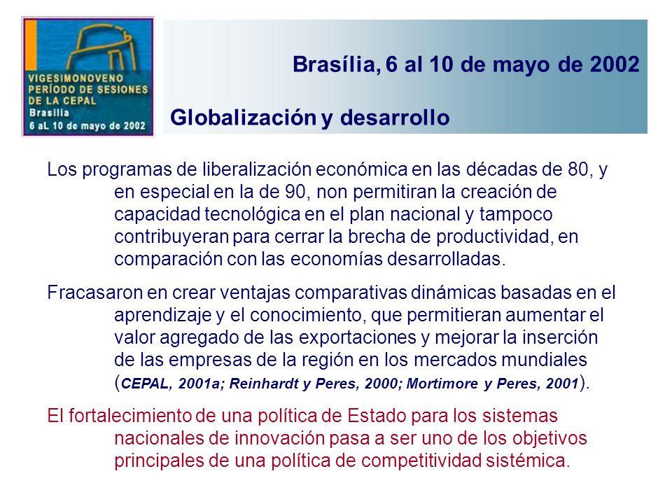 Los programas de liberalización económica en las décadas de 80, y en especial en la de 90, non permitiran la creación de capacidad tecnológica en el p