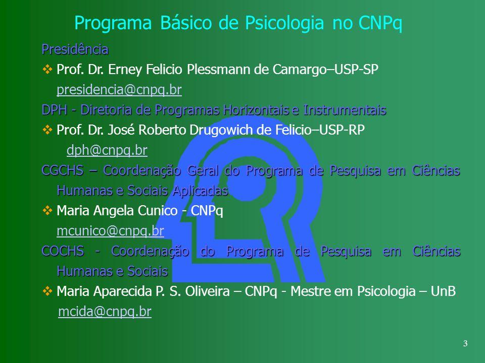 3 Programa Básico de Psicologia no CNPq Presidência Prof. Dr. Erney Felicio Plessmann de Camargo–USP-SP presidencia@cnpq.br DPH - Diretoria de Program