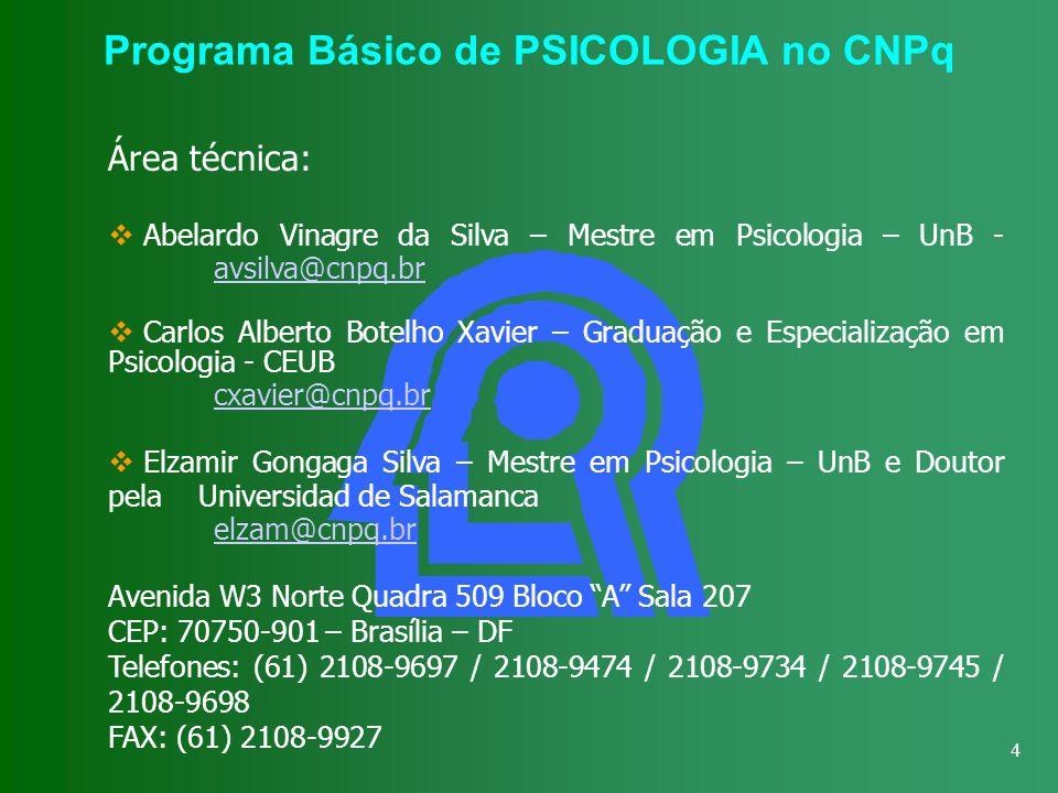 4 Programa Básico de PSICOLOGIA no CNPq Área técnica: Abelardo Vinagre da Silva – Mestre em Psicologia – UnB - avsilva@cnpq.br avsilva@cnpq.br Carlos