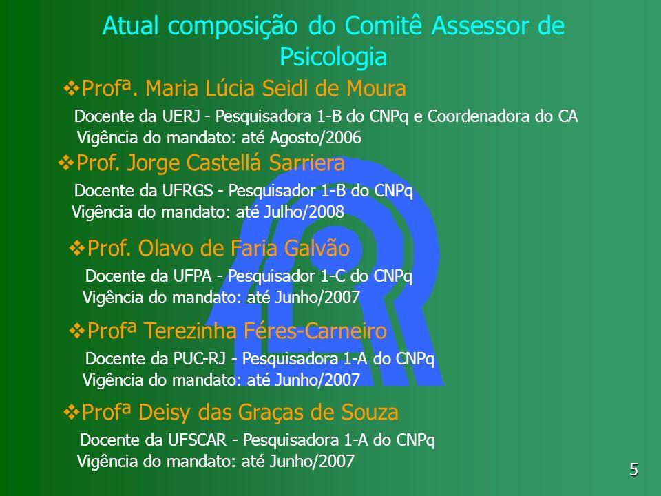 5 Atual composição do Comitê Assessor de Psicologia Profª. Maria Lúcia Seidl de Moura Docente da UERJ - Pesquisadora 1-B do CNPq e Coordenadora do CA