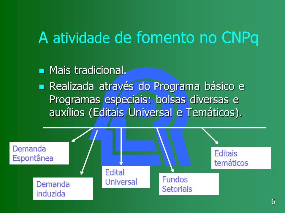 6 A atividade de fomento no CNPq Mais tradicional. Mais tradicional. Realizada através do Programa básico e Programas especiais: bolsas diversas e aux