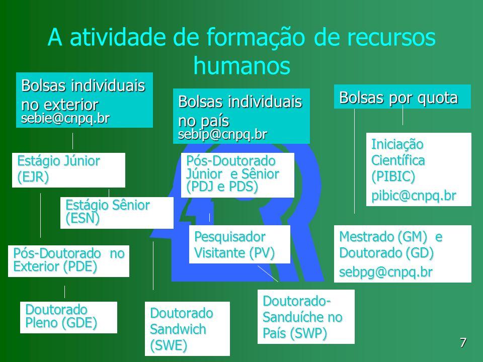 7 A atividade de formação de recursos humanos Bolsas por quota Iniciação Científica (PIBIC) pibic@cnpq.br Mestrado (GM) e Doutorado (GD) sebpg@cnpq.br