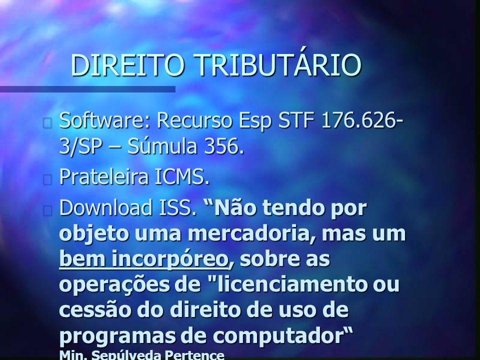 DIREITO TRIBUTÁRIO n Software: Recurso Esp STF 176.626- 3/SP – Súmula 356.