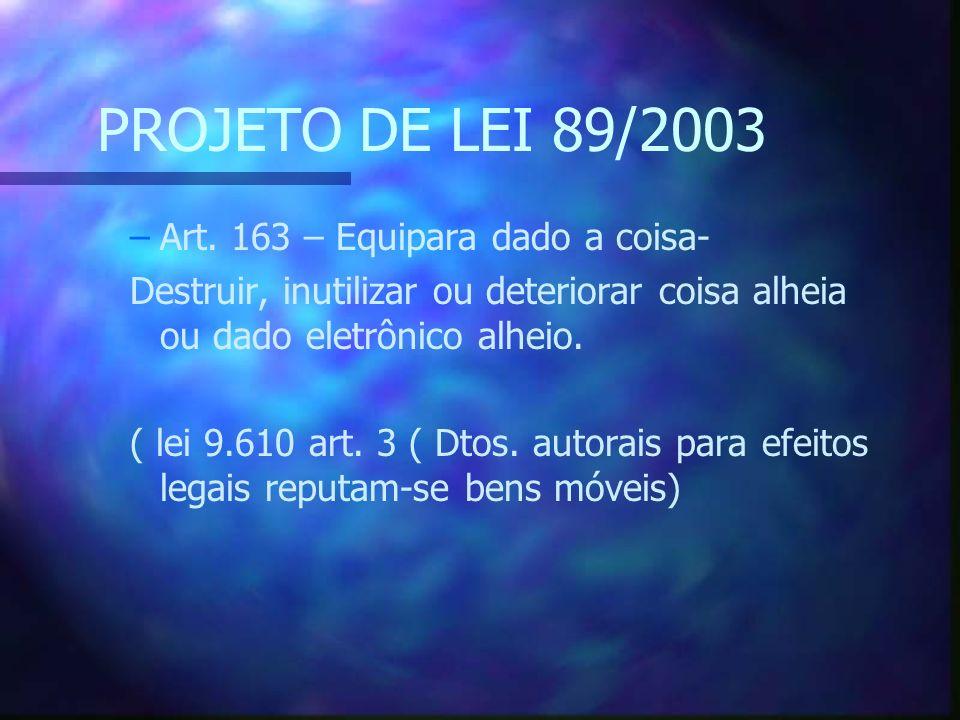 PROJETO DE LEI 89/2003 –Art.