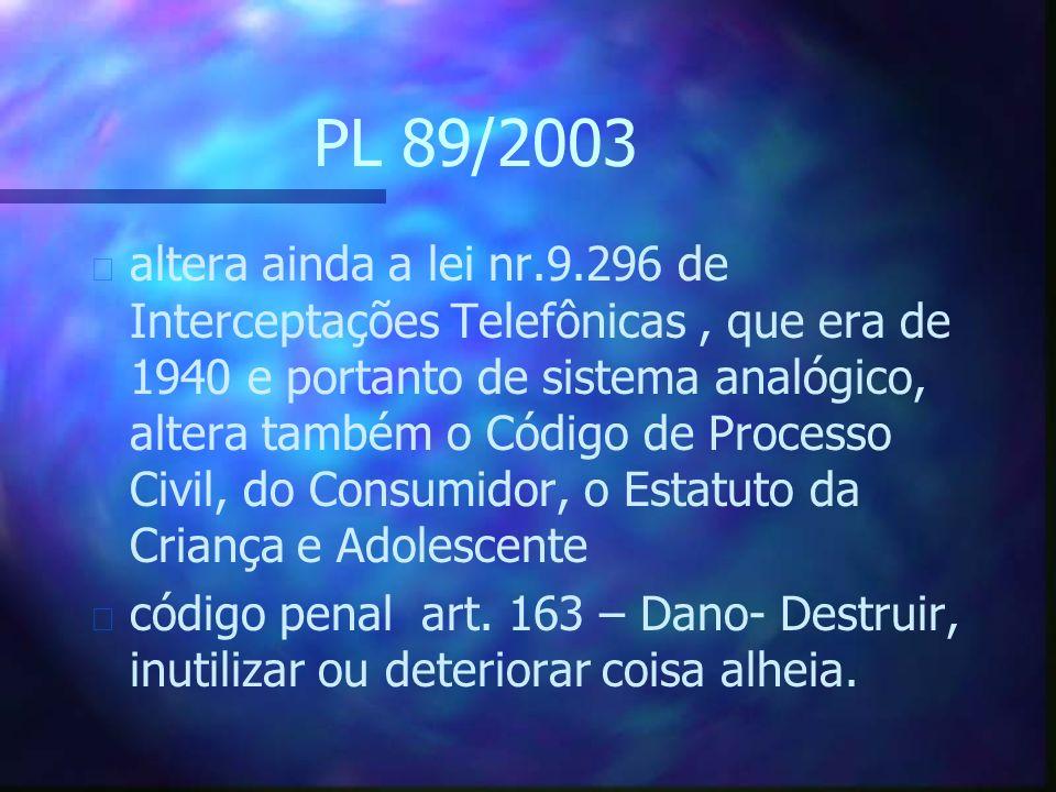 PL 89/2003 n altera ainda a lei nr.9.296 de Interceptações Telefônicas, que era de 1940 e portanto de sistema analógico, altera também o Código de Processo Civil, do Consumidor, o Estatuto da Criança e Adolescente n código penal art.