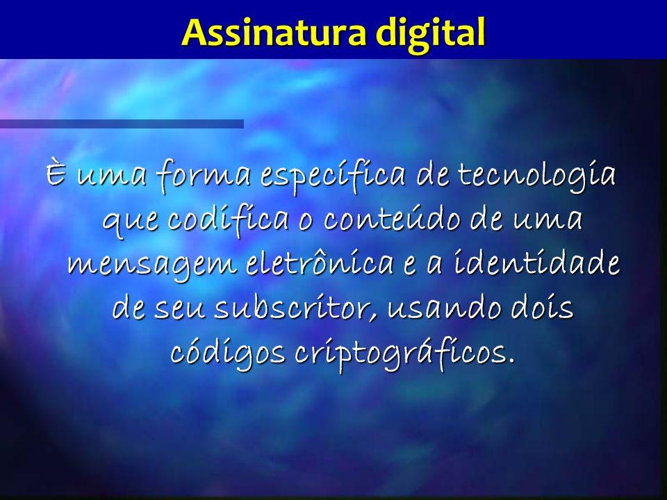 Assinatura digital È uma forma específica de tecnologia que codifica o conteúdo de uma mensagem eletrônica e a identidade de seu subscritor, usando dois códigos criptográficos.