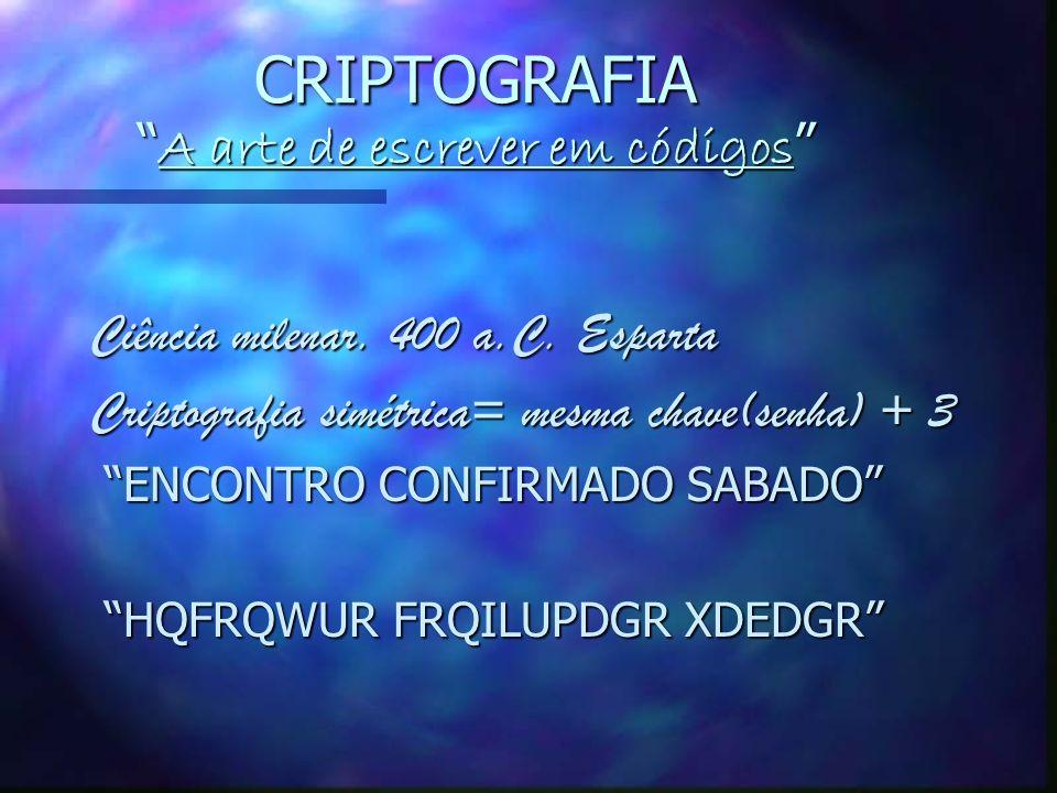 CRIPTOGRAFIA A arte de escrever em códigos CRIPTOGRAFIA A arte de escrever em códigos Ciência milenar.