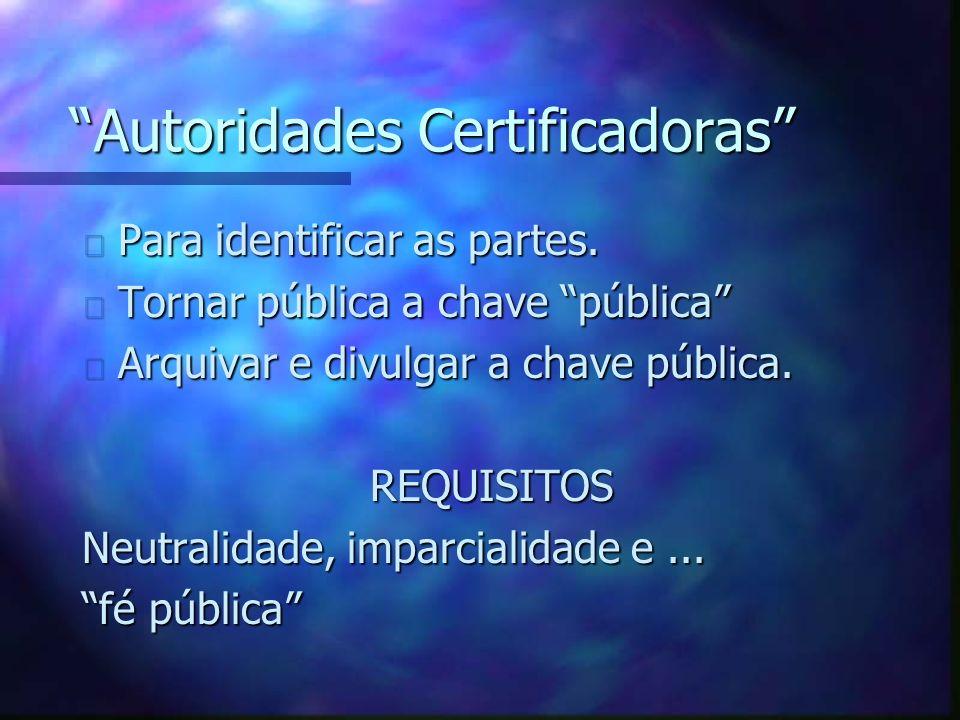 Autoridades Certificadoras n Para identificar as partes.