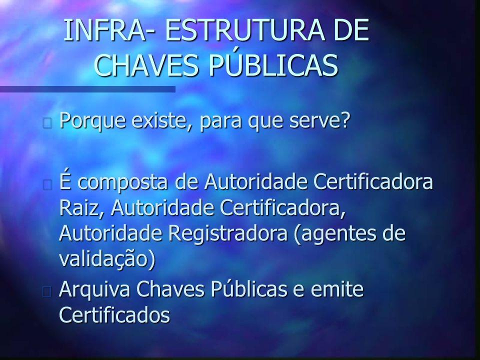 INFRA- ESTRUTURA DE CHAVES PÚBLICAS n Porque existe, para que serve.