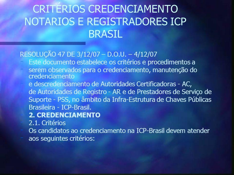 CRITÉRIOS CREDENCIAMENTO NOTARIOS E REGISTRADORES ICP BRASIL RESOLUÇÃO 47 DE 3/12/07 – D.O.U.