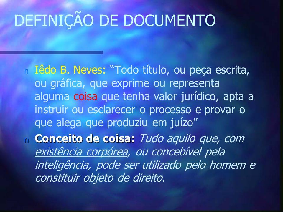 DEFINIÇÃO DE DOCUMENTO n Iêdo B.